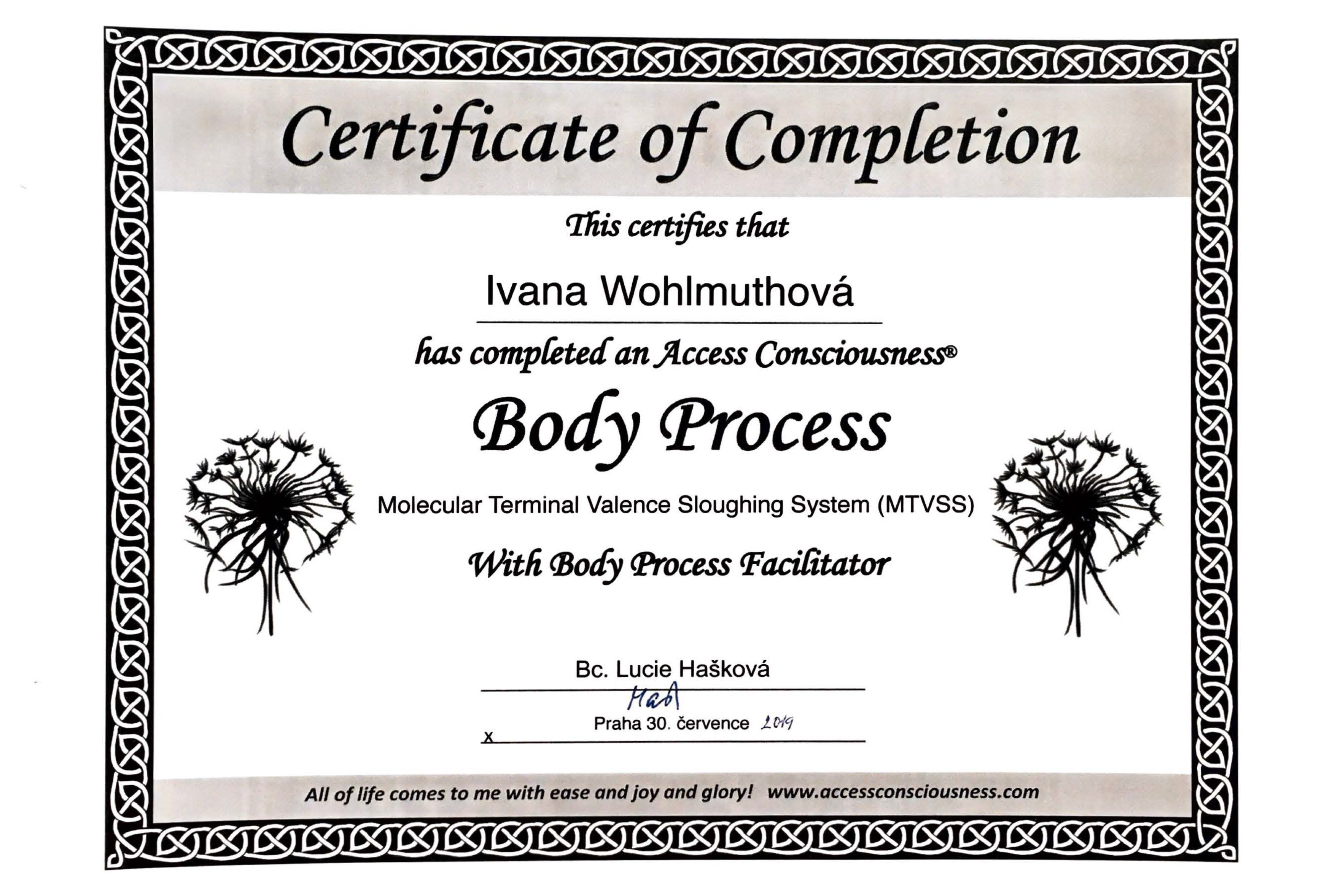 Certifikát ACCESS BARS® Terapie - Body Process